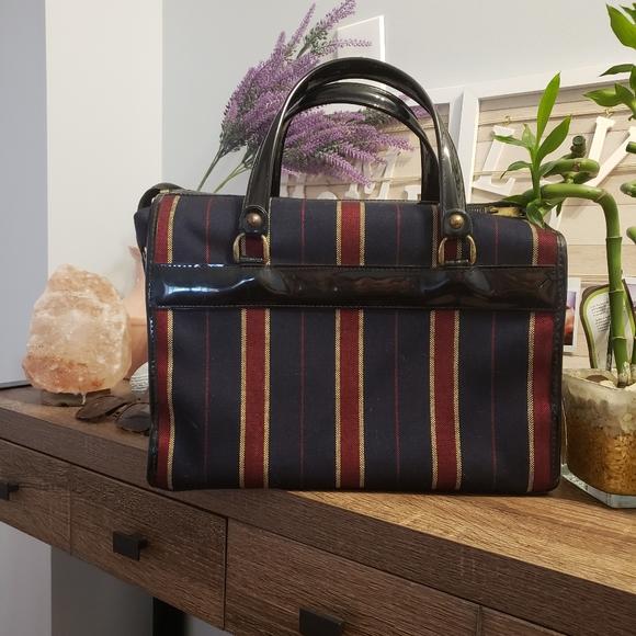 VINTAGE Striped Luggage Carryon Tote Bag